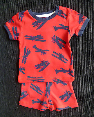 Baby clothes BOY 12-18m red cotton aeroplane shorts pyjamas 2nd item post-free!