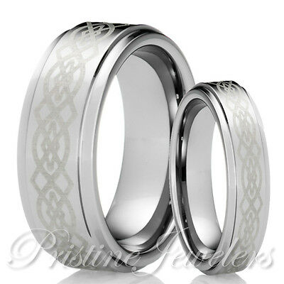 His & Her Tungsten Carbide Wedding Band Silver Celtic Mens Jewelry Promise Ring