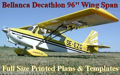"""Decathlon 96"""" WS 1/4 Scale RC Airplane Full Size PRINTED Plans & Templates"""