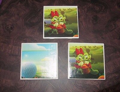 Disney World Epcot Flower Garden Set of 3 Tile Coasters Minnie Mickey Mouse RARE