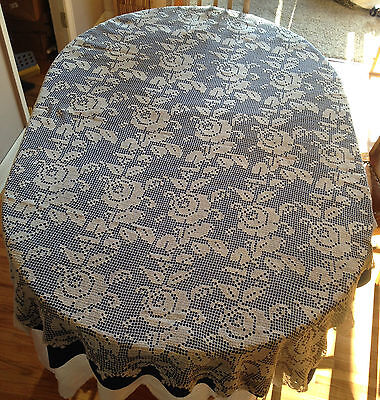 """Canadian Hand Crocheted Table Cloth with Roses  61 """" x 70"""" (622)"""