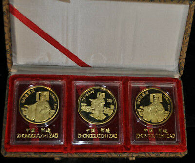 SET OF THREE GOLD PLATED SILVER MEDALLION x5516