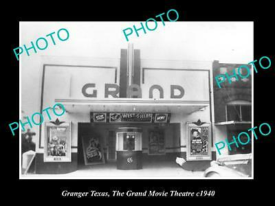 OLD LARGE HISTORIC PHOTO OF GRANGER TEXAS,  THE GRAND MOVIE THEATRE c1940