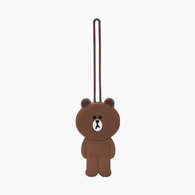 LINE FRIENDS Character Silicon Luggage Name Tag BROWN Bear Official Goods
