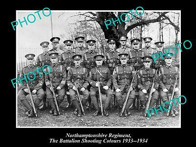 OLD HISTORIC MILITARY PHOTO OF NORTHAMPTONSHIRE REGIMENT, SHOOTING COLORS c1933
