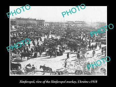 OLD LARGE HISTORIC PHOTO OF SIMFEROPOL UKRAINE, VIEW OF THE TOWN MARKET c1918