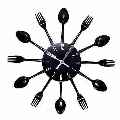 Modern Large Cutlery Wall Clock Fork & Spoon Kitchen Home Decoration 38cm Gift