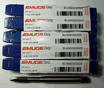 5pc #1/4-20 EMUGE SPIRAL POINTED TAP TICN COATED