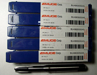 5pc 3/8-24 EMUGE SPIRAL POINTED TAP TICN COATED