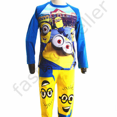 Boys Minions Children Pyjamas T-shirt Sleepwear Set Kids Costume Snug Nightie