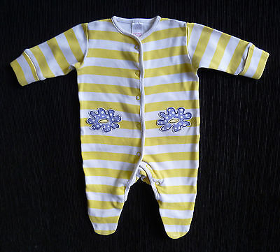 Baby clothes UNISEX GIRL BOY newborn 0-1m NEXTyellow/white stripe babygrow+mitts