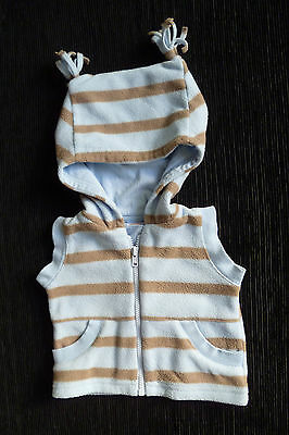 Baby clothes BOY newborn 0-1m Minimode blue/beige stripe fleece hood gilet