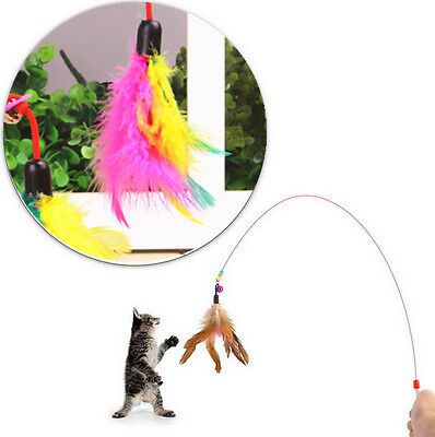 AUEC Kitten Cat Pet Toy Wire Chaser Wand Teaser Feather With Bell Beads Play Fun