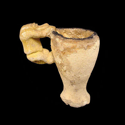 AMARNA FAIENCE VOTIVE CUP WITH BABOON HANDLE a7389 • CAD $6,986.37