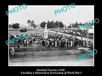 OLD LARGE HISTORIC PHOTO OF DUNKELD VICTORIA, OPENING OF THE WAR MEMORIAL c1928
