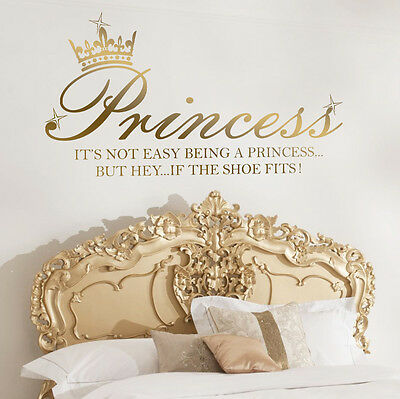 Princess Crown Shoe Quote Art Decal Girl Bedroom Vinyl Wall Sticker Decoration ♕