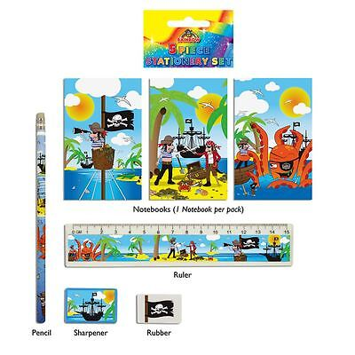 5 Pirate Stationary Set Party Loot Bag Fillers Boys Childrens Birthday Kids Toys