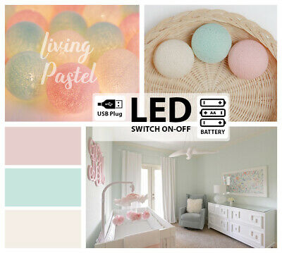 LED443 BATTERY/USB COTTON BALL LIGHTS for Nursery Bedroom CREAM MINT SWEET PEACH