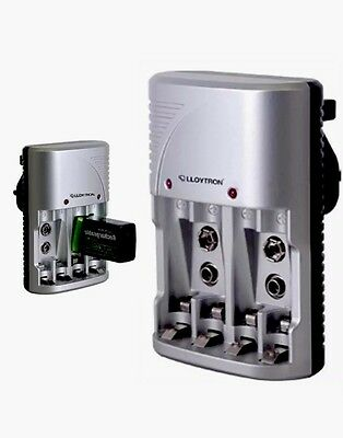 New Lloytron Compact Plug-In Battery Charger - Charge Aa / Aaa & 9V Sizes