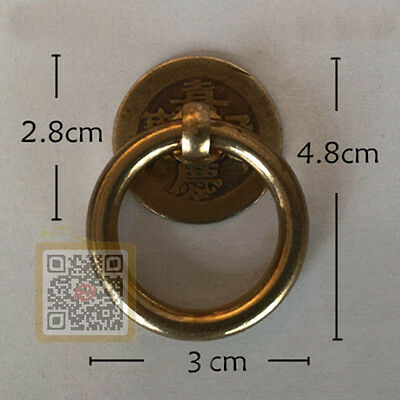 Chinese Antique Bronze Brass Old Coin Ring Drawer Cabinet Dresser Pull Knob