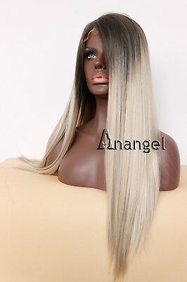 Brown Blonde Ombre Synthetic Lace Front Wig Long Full Women's Wigs Straight Hair