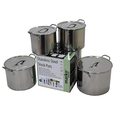 Deep Stock Pot Pan Set Casserole Pots Soup Stew Cooking Stainless Steel 4 Sizes