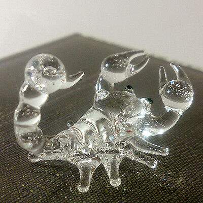 Tiny Crystal Scorpion Hand Blown Clear Glass Art Figurine Miniature Collection
