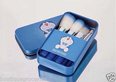 7pcs/sets Blue Cute Cartoon Doraemon Professional Makeup brush suit 2015 Newest