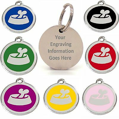 Dog Bone In Bowl 25mm Personalised Engraved Pet ID Tags Dogs Names Discs Disks