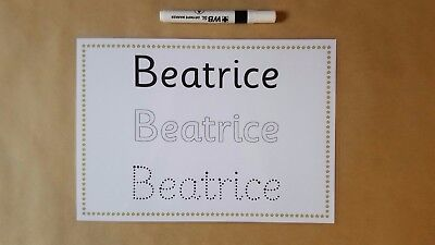LEARN TO WRITE YOUR NAME, PERSONALISED NAME CARd, NAME TRACING EYFS/SEN RESOURCE