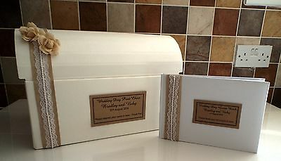 Personalised Hessian Burlap Engagement or Wedding Post Chest Box Memory Chest