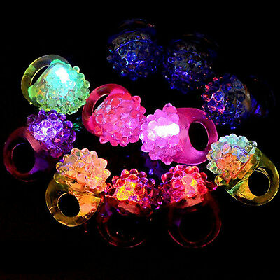 12X Light-Up Jelly Bumpy Rings Flashing LED Bubble Rave Party Favors Blinking WS