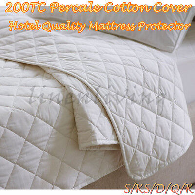 200TC Cotton Cover Hotel Quality Quilted Mattress Protector Fully Fitted
