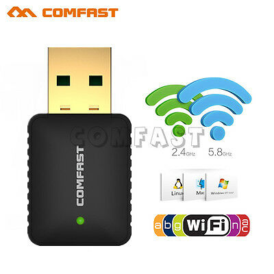 600Mbps Dual Band 5GHz USB Wireless WiFi 802.11AC Adapter Network Win10 Linux US