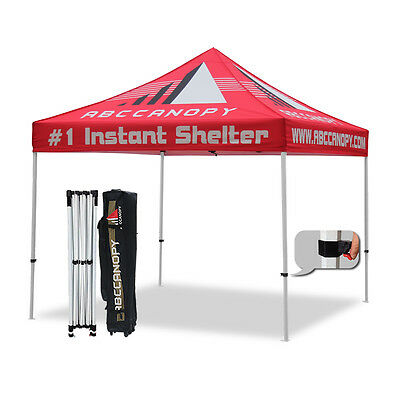 10x10 custom pop up canopy tent with full color print for roof with roller bag - Custom Pop Up Tents