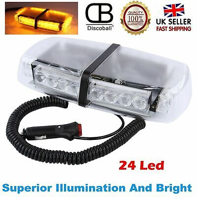 24 LED Car Strobe Light Amber  Warning Flashing Emergency Magnetic Hazard Beacon