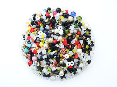 40g Assorted Czech Glass Beads Mixed Colours for Jewellery Making