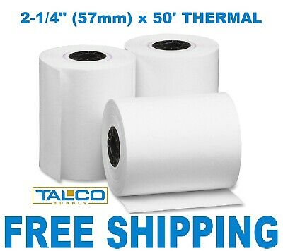"2-1/4"" x 50' THERMAL WIRELESS PoS RECEIPT PAPER - 3 ROLLS  ** FREE SHIPPING **"