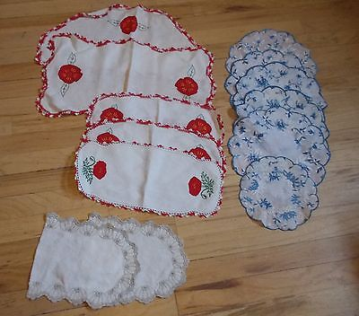 Vintage Collectibles Kitchen Table Linens Doilies Hand Embroidered Crocheted