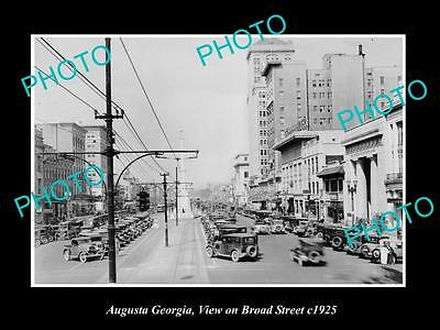 OLD LARGE HISTORIC PHOTO AUGUSTA GEORGIA, VIEW OF BROAD STREET c1925