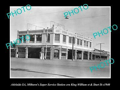 OLD LARGE HISTORIC PHOTO OF ADELAIDE SA, MILBURNS SERVICE STATION c1940s K/W St