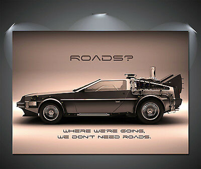 Back to the Future Delorean Large Poster - A1, A2, A3, A4 sizes
