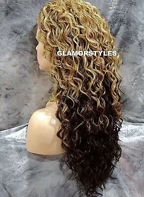 "29"" Spiral Curls Golden Brown Mix Heat Ok 3/4 Half Fall Wig Full Hair Piece"
