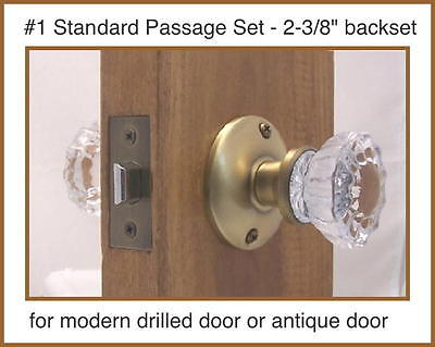Fluted Crystal Glass & Antique Brass Complete Passage Door Knob Sets