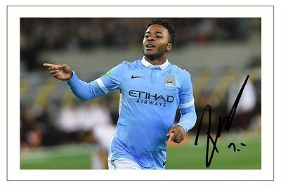 Raheem Sterling Manchester City Signed Autograph Photo Print  Soccer