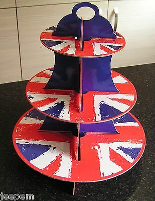 3 Tier Cupcake Cup Cake Stand Union Jack, UK Flag, Muffin Tree, Jubilee Party
