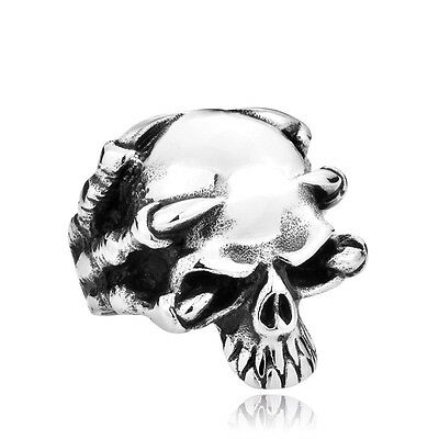 Unique Stainless Steel Skull Ring Punk Biker Gothic - NEW