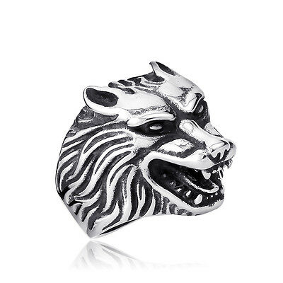 Funky Stainless Steel Wolf Ring - NEW Biker Punk Gothic