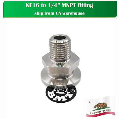 Adapters KF16 to 1/4 inch  Male NPT, good for pressure gauge connection, SS 304