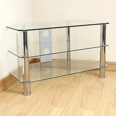 Hartleys Clear Glass 3 Tier Corner LED/LCD/Plasma TV Stand Unit/Shelf Up to 37""
